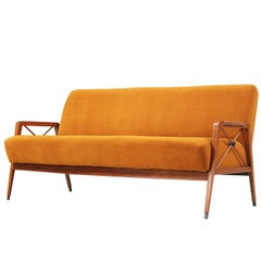 Brazilian Caviuna Wood and Mohair Sofa by Cavallaro