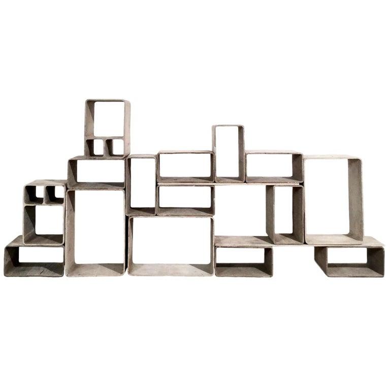 Sculptural Cement Modular Bookcase by Willy Guhl
