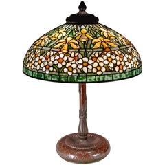 "Tiffany Studios ""Jonquil-Narcissus"" Leaded Stained Glass Table Lamp"