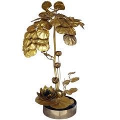 1970s Maison Jansen Brass Anemone Lamp