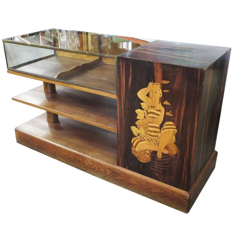 Art Deco Showcase in Macassar Ebony and Inlaid Woods For Sale