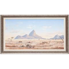 """Albert Solomon Oil on Board Painting, """"Spitskoppe"""", 1980"""