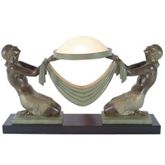 French Table Lamp Offrande, Sculpture by Fayral, Original Max Le Verrier