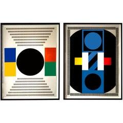 Untitled geometric compositions by Kumi Sugai, Paris, circa 1970