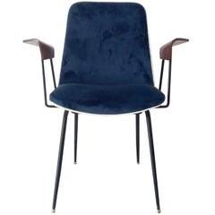 "Gastone Rinaldi Blue Fabric Plywood Italian Midcentury Chair ""DU22"" for RIMA"
