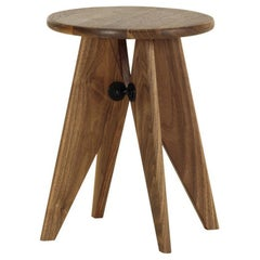 Jean Prouvé Tabouret / Stool Solvay in solid American Walnut by Vitra