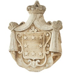 Carved Dolomite Stone Coat of Arms, Continental, 19th Century