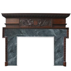 Large and Unusual Antique Late Victorian Carved Oak Fireplace Surround
