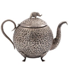 Indian Kutch Silver Tea Pot