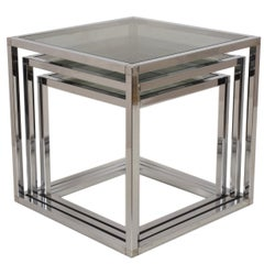 Set of Three Nesting Tables in Chrome and Glass, Italy, 1970s Mid-Century Modern