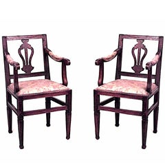 Pair of Italian Neoclassic Walnut Armchairs
