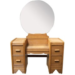 Streamline Stick Rattan Vanity with Rice Coverings and Round Mirror