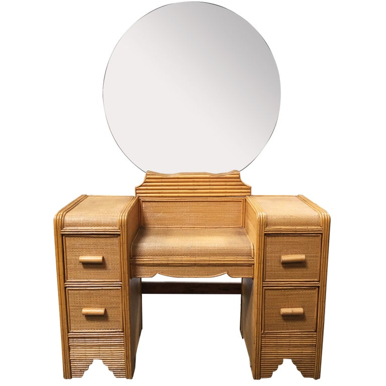 Streamline Stick Rattan Vanity with Rice Coverings and Round Mirror For Sale