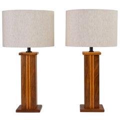 Pair of Studio Craft Lamps in Mixed Woods