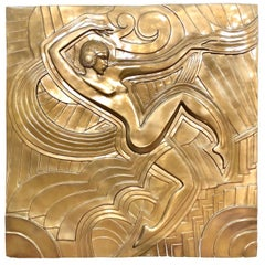 Folies Bergère, Art Deco Style Golden Relief in Resin, after Maurice Picaud