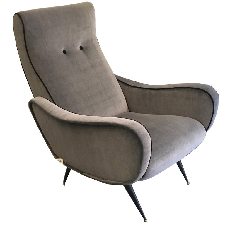 1950 Italian Gray Armchair Lady Zanuso Style For Sale at 1stdibs