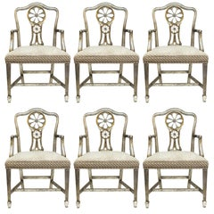 Hollywood Regency Style Silvered and Giltwood Dining Chairs