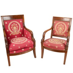 Matched Pair of French Empire Armchairs, 19th Century