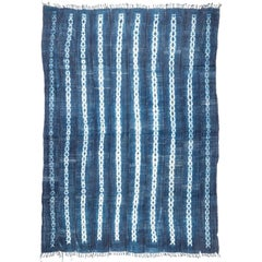 Vintage African Indigo Blue and White Cotton Wrap Blanket