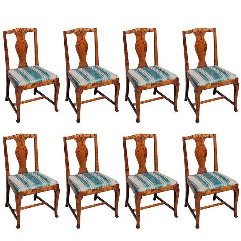 Swedish Set of Eight Dining Chairs