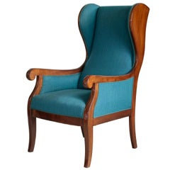 Danish 1940s Wingback Chair in Mahogany by Master Carpenter Frits Henningsen