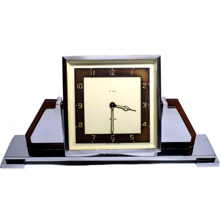English 8-Day Chrome and Bakelite Desk Clock, Dated 1936