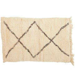 Crème and Brown Beni Ourain Rug