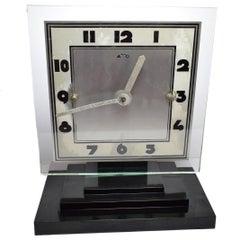 Large Modernist 1930s Art Deco Bakelite and Glass ATO Clock