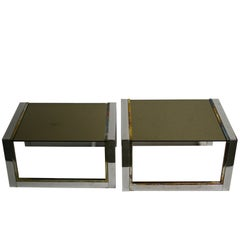 Set of Brass and Chrome Nesting Tables, 1970s France