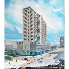 """Claridge Tower,"" Superb, Large Architectural Painting, circa 1960, Cleveland"