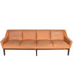 Danish Modern Four-Seat Sepia Leather Sofa