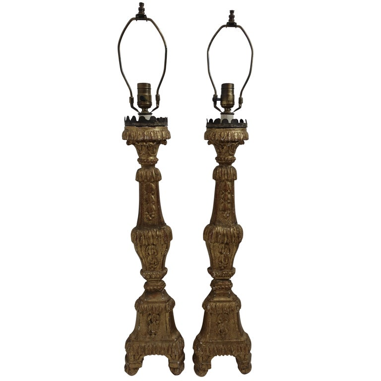 Pair of Giltwood Altar Candlestick Lamps, Italian, 18th Century