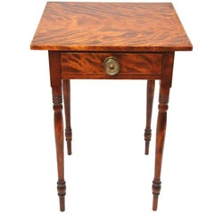 19th Century New England Sheraton Flame Birch One-Drawer Stand