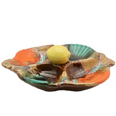 Majollica-Style Oyster Plate, Centrepiece with Four Compartments by Vallauris