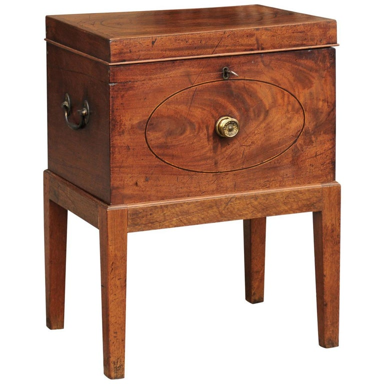 English 1850s Mahogany Cellarette with Banding and Brass Accents on Custom Stand For Sale
