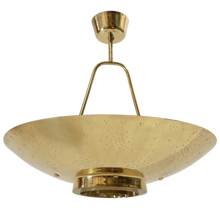 'UN' Ceiling Lamp in Brass by Paavo Tynell, Finland, 1950s
