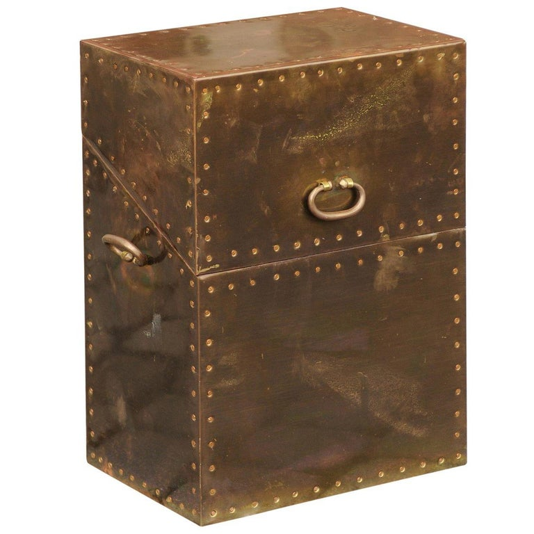 Vintage English Brass-Plated Box with Stud Trim from the Mid-20th Century For Sale
