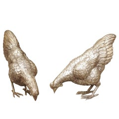 Pair of Vintage English Silver Plate Pecking Chicken Sculptures from the 1950s