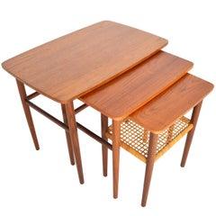 Danish Modern Set of Teak Nesting Tables with Cane Rack