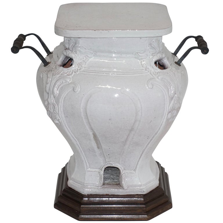 White Glazed Faience Ceramic Coal Heater or Plant Stand, French, 19th Century For Sale
