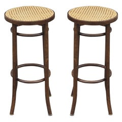 Pair of Mid-Century Modern Cane Top Barstools by Thonet Bentwood