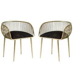 Pair Of Gold Patina Metal Structure and Black Fabric Armchairs