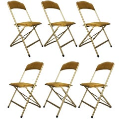 Set of Six Brass and Velvet Plia Style Folding Chairs