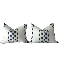 Pair of Double-Sided Schumacher Izmir Indigo Pillow Covers
