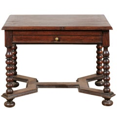 French 17th Century Louis XIII Walnut Side Table with Bobbin Legs and Stretcher