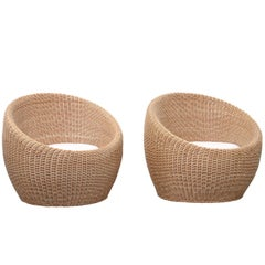 Pair of Isamu Kenmochi Rattan Lounge Chairs
