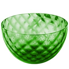 Coppetta Carnevale Glass Bowl in Green by Venini