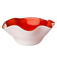 Fazzoletto Oval Glass Bowl in Milk-White and Red by Venini