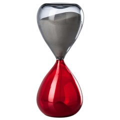 Clessidra Glass Hourglass in Grey and Red by Venini
