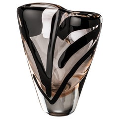 Venini Black Belt Otto Tall Glass Vase in Crystal and Pink by Peter Marino